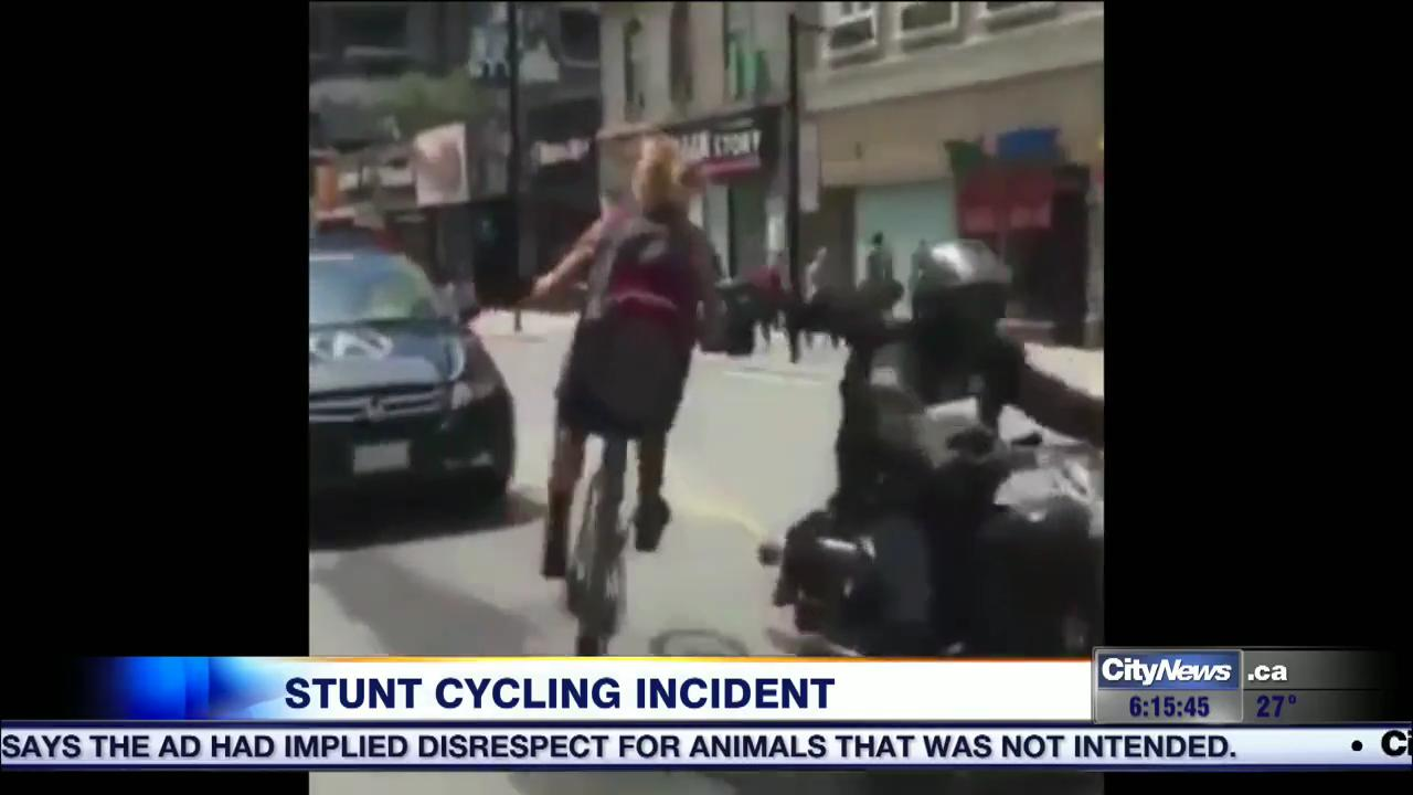 Video: Cyclist facing possible charges for one-wheel stunt