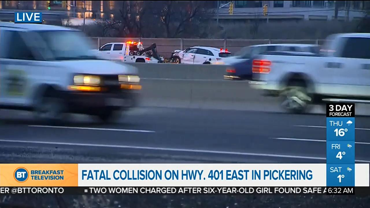 One dead after multi-vehicle crash on Highway 401 in Pickering