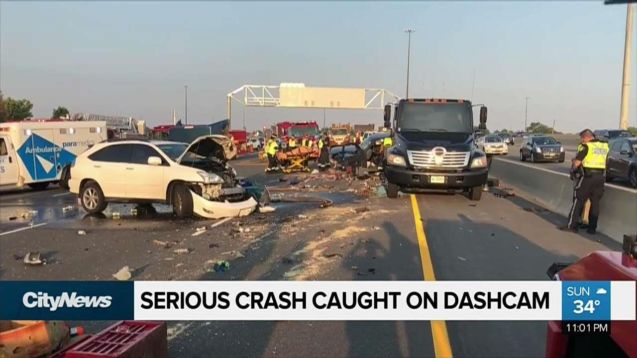 shocking footage of minor crash turned major on the 401 - video