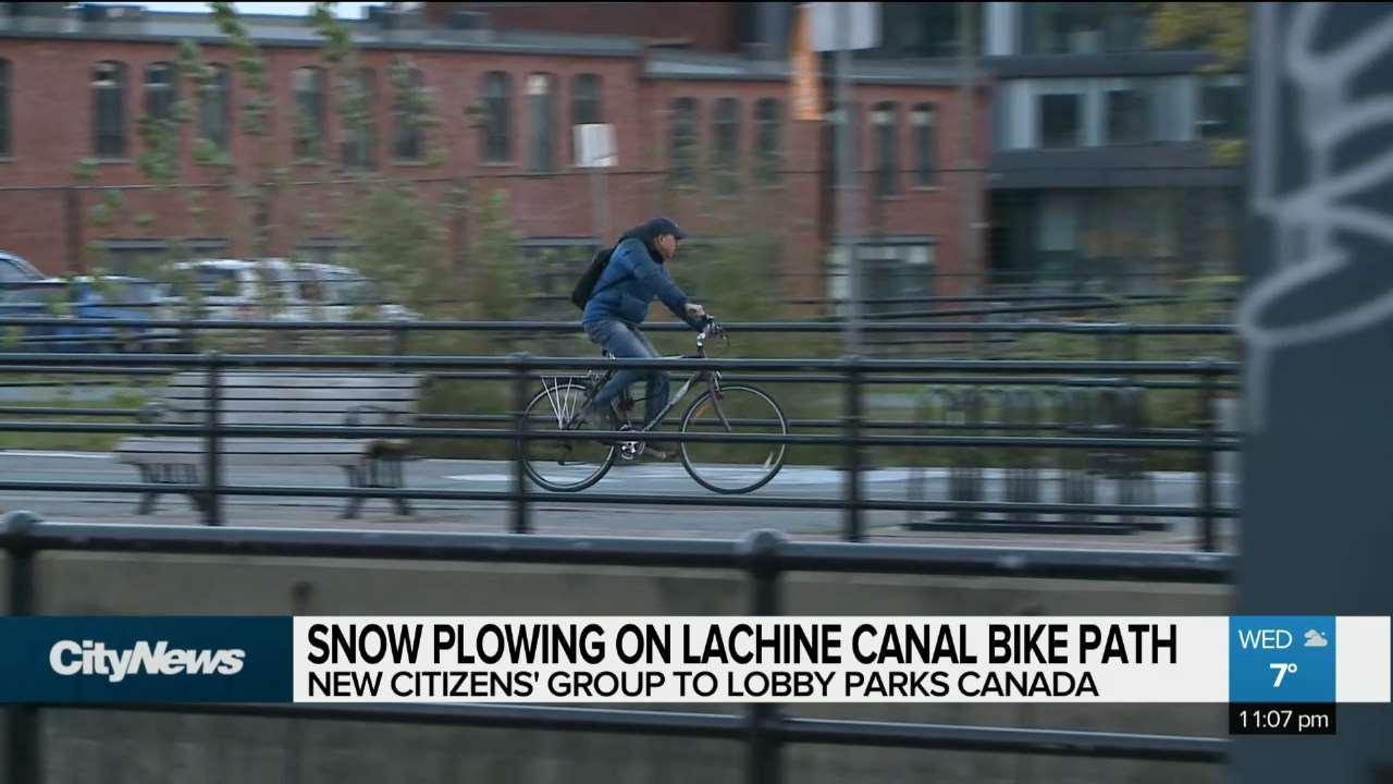 Snow Plowing on Lachine Canal Bike Path