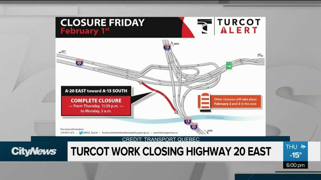 Turcot work to close Highway 20 east this weekend