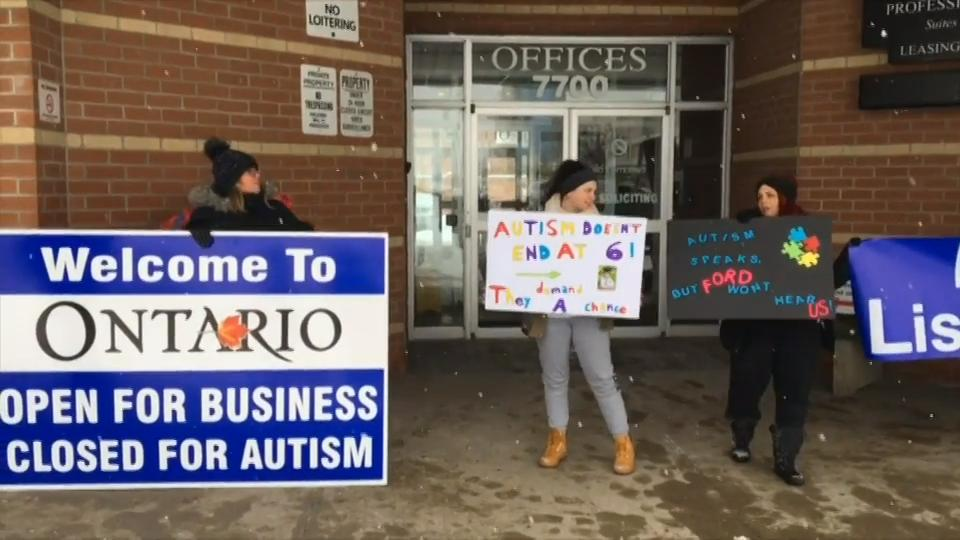 Parents hold rally in Brampton protesting changes to Ontario's autism program