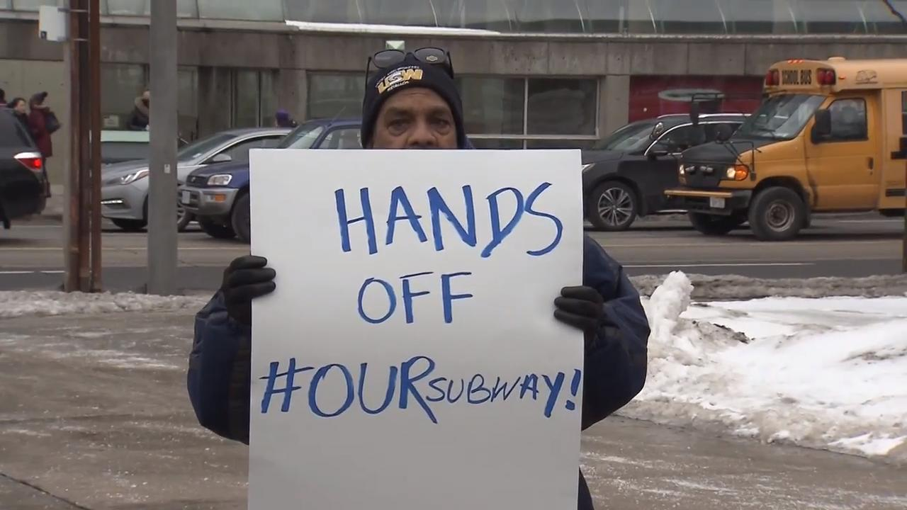 Transit advocates protest possible upload of subway to province