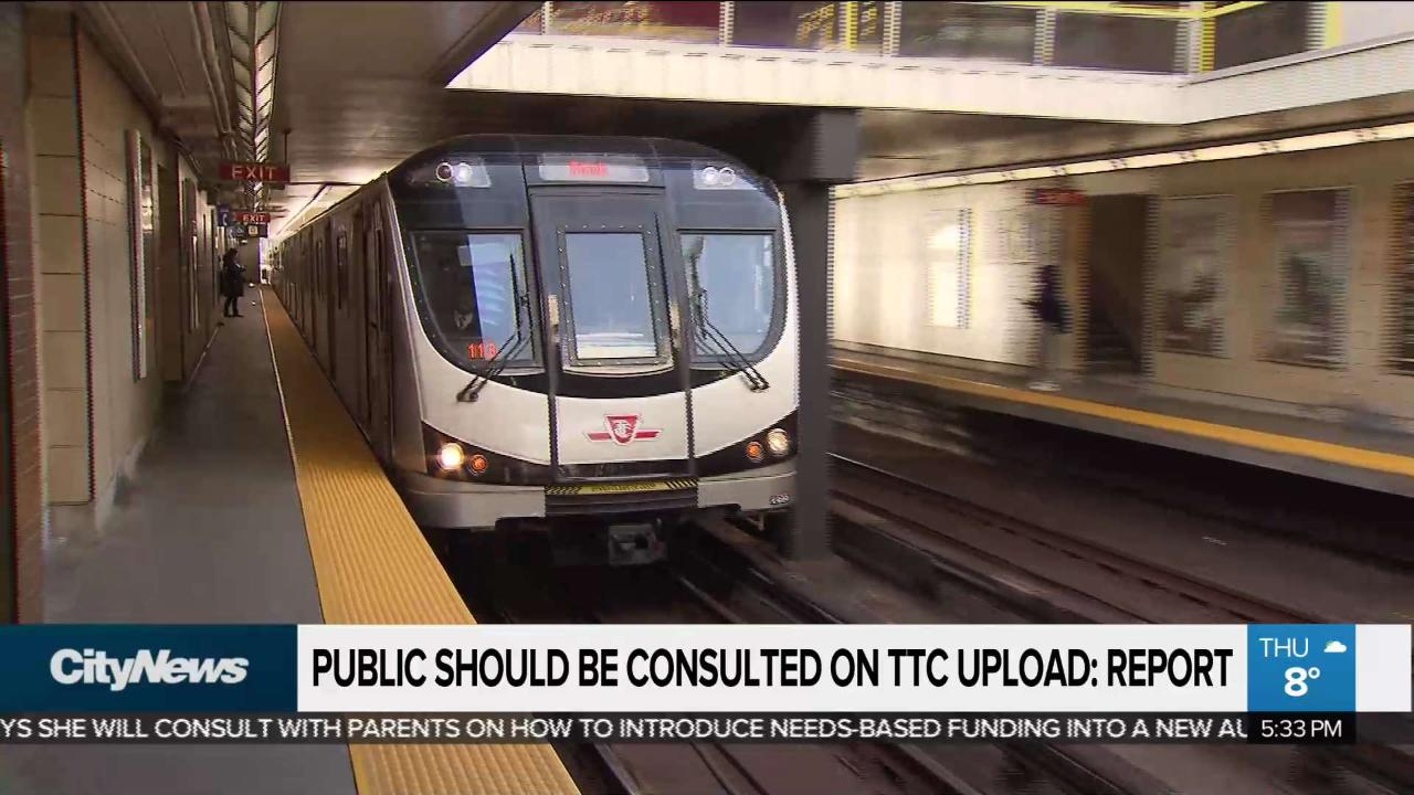 Report says public should be consulted on TTC upload