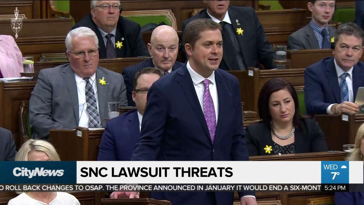 War of words between Scheer and Trudeau over SNC-Lavalin