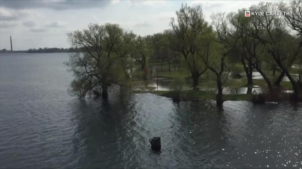 Ponding on Centre Island as water levels in Lake Ontario continue to rise