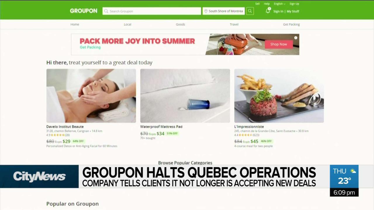 Groupon halts Quebec operations