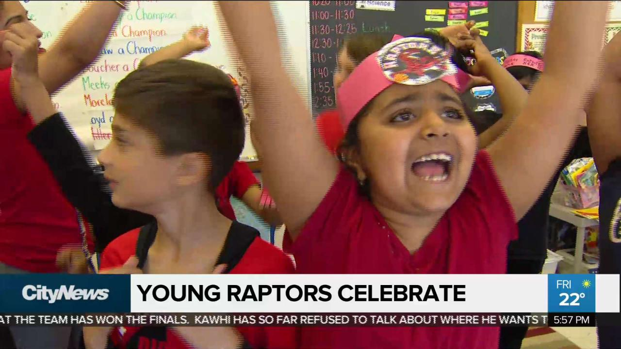 Young students stay up way past bedtime to watch Raptors win