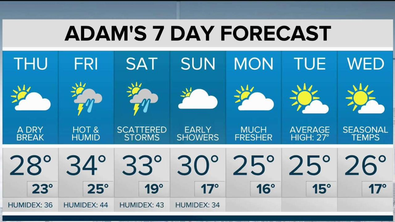Motor Problems In Infancy May Forecast >> Maleeha S 7 Day Forecast For Toronto