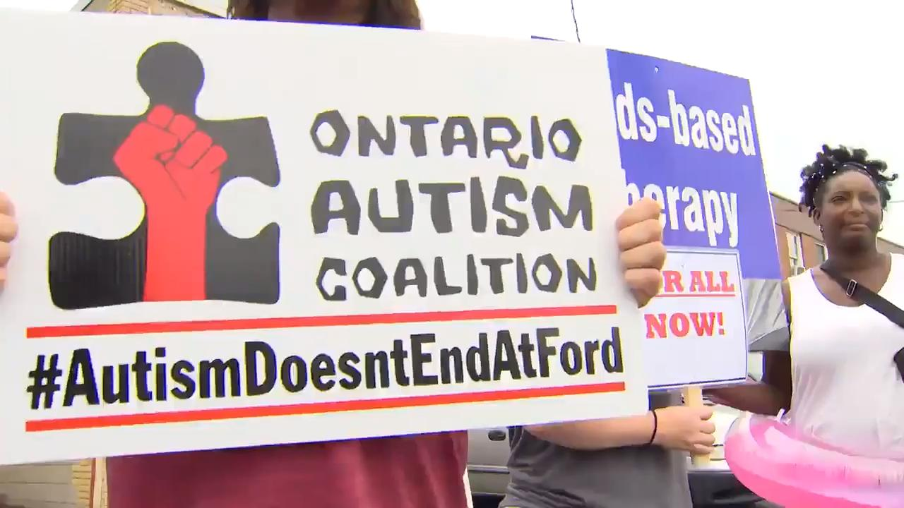 Parents of children with autism protest outside Ford's MPP office