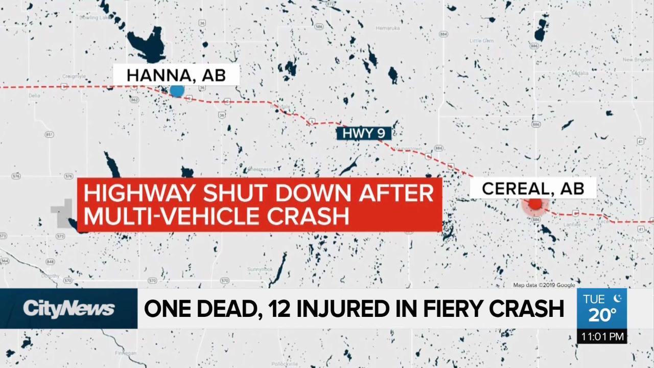 One dead, 12 injured in massive eastern Alberta crash