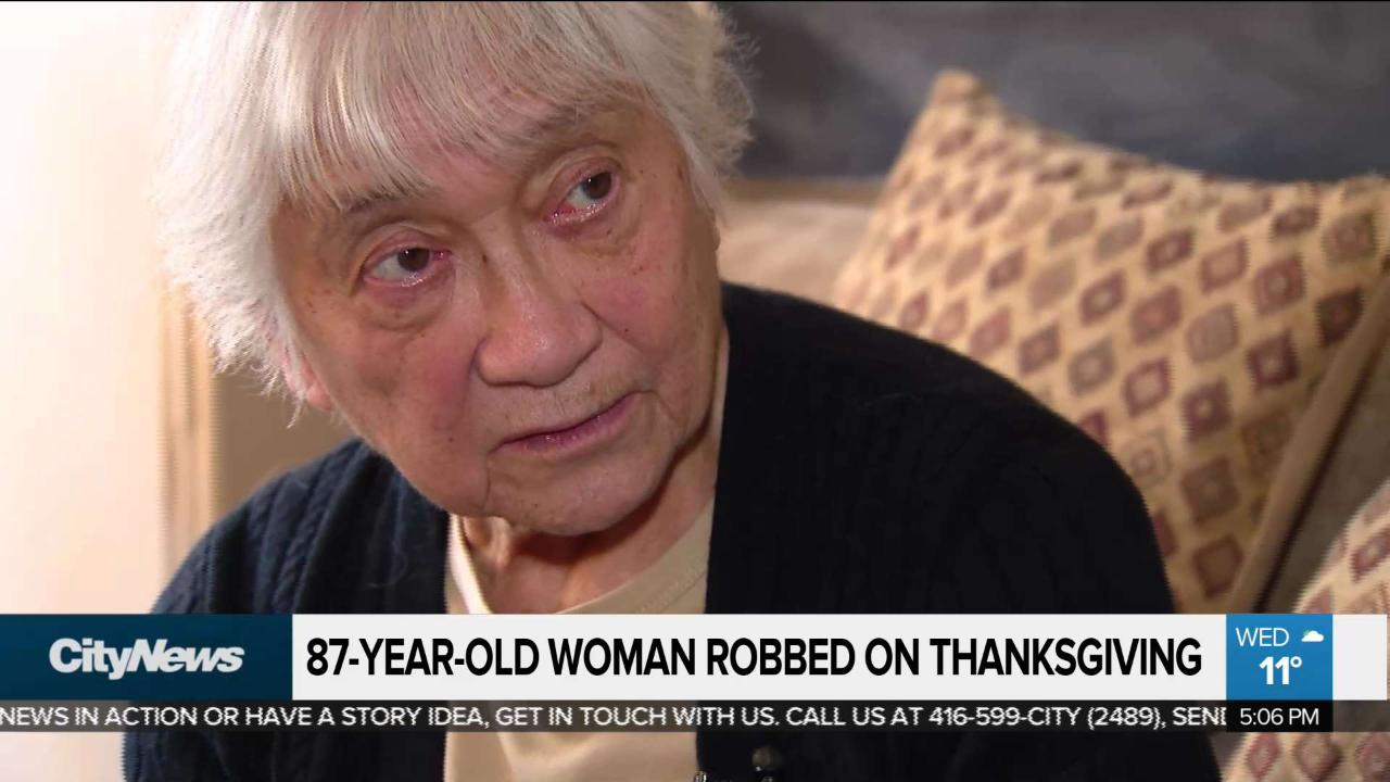Woman, 87, robbed on Thanksgiving