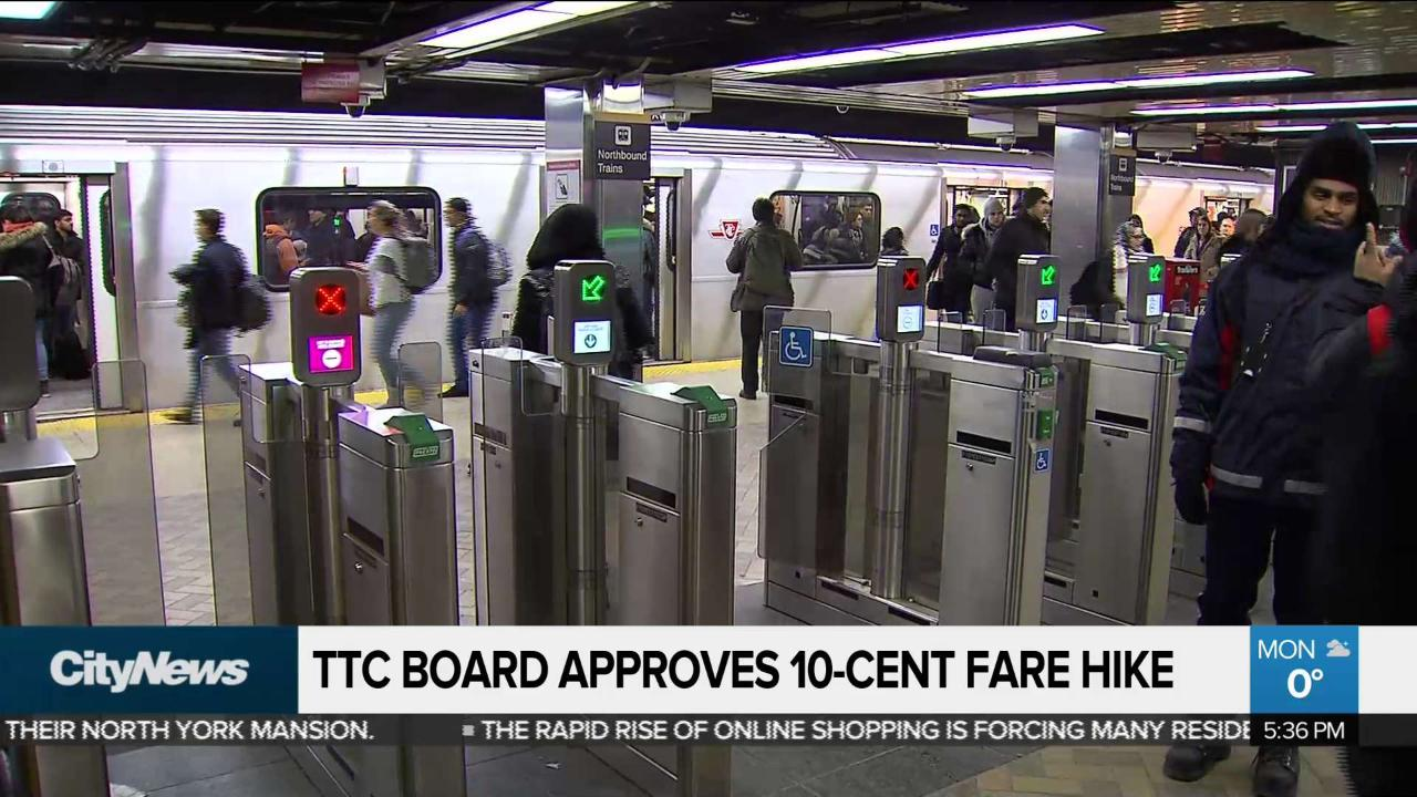 TTC Board approves 10-cent fare hike