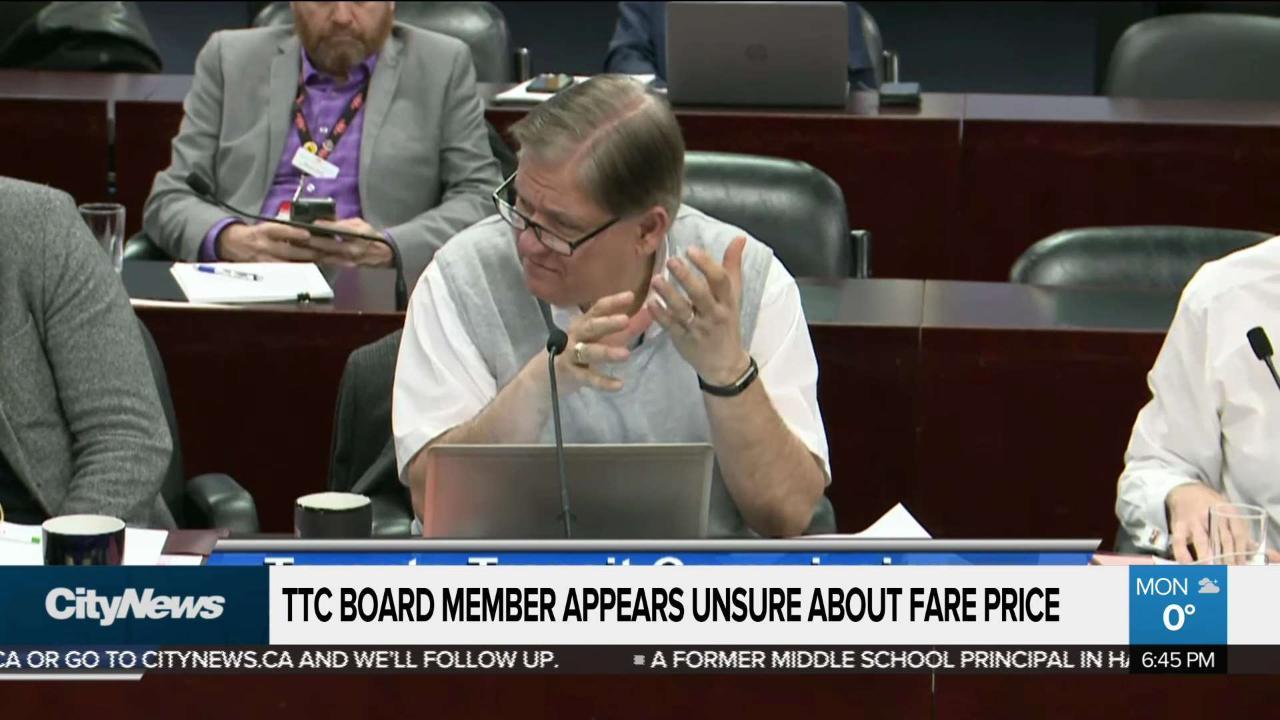 TTC Board member denies fare price confusion