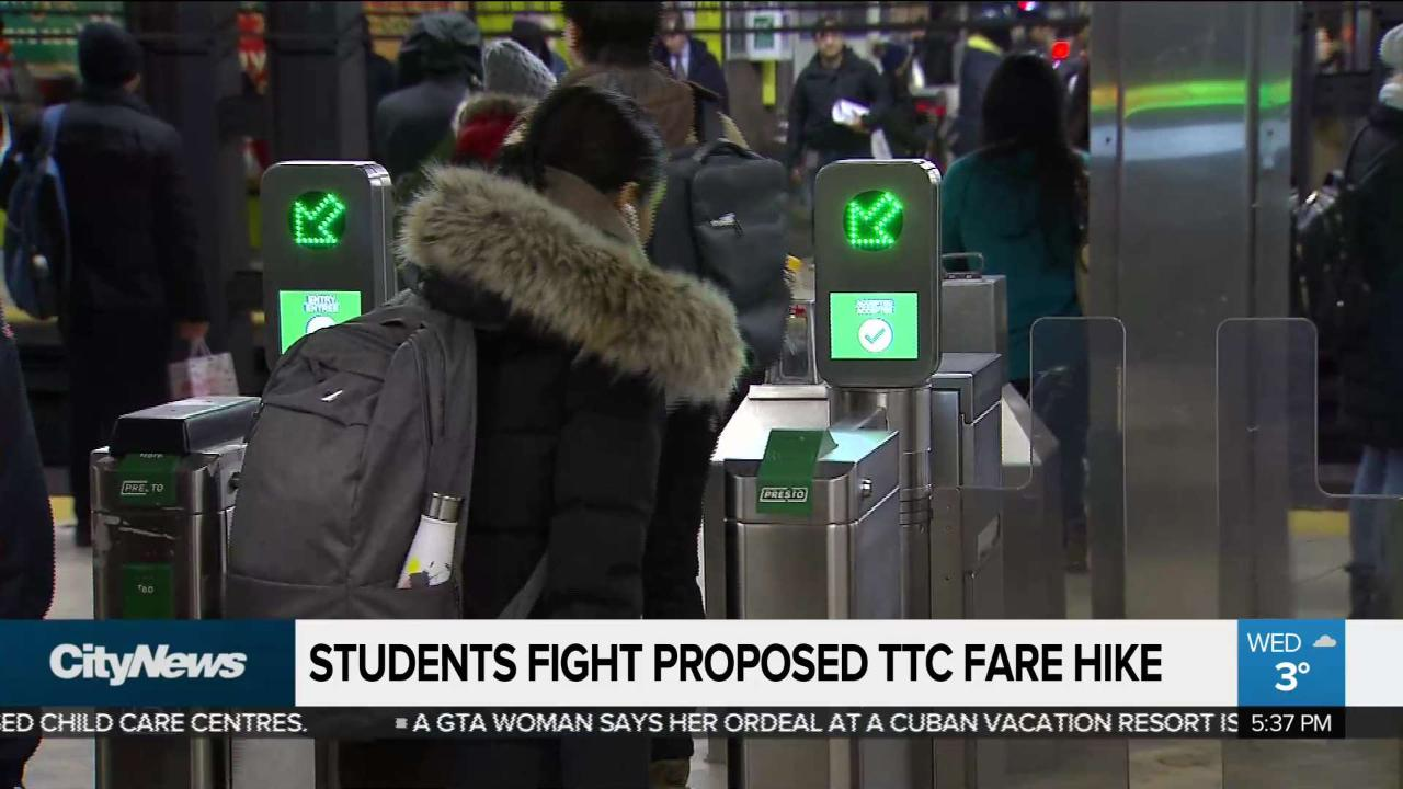 University students protest TTC fare hike