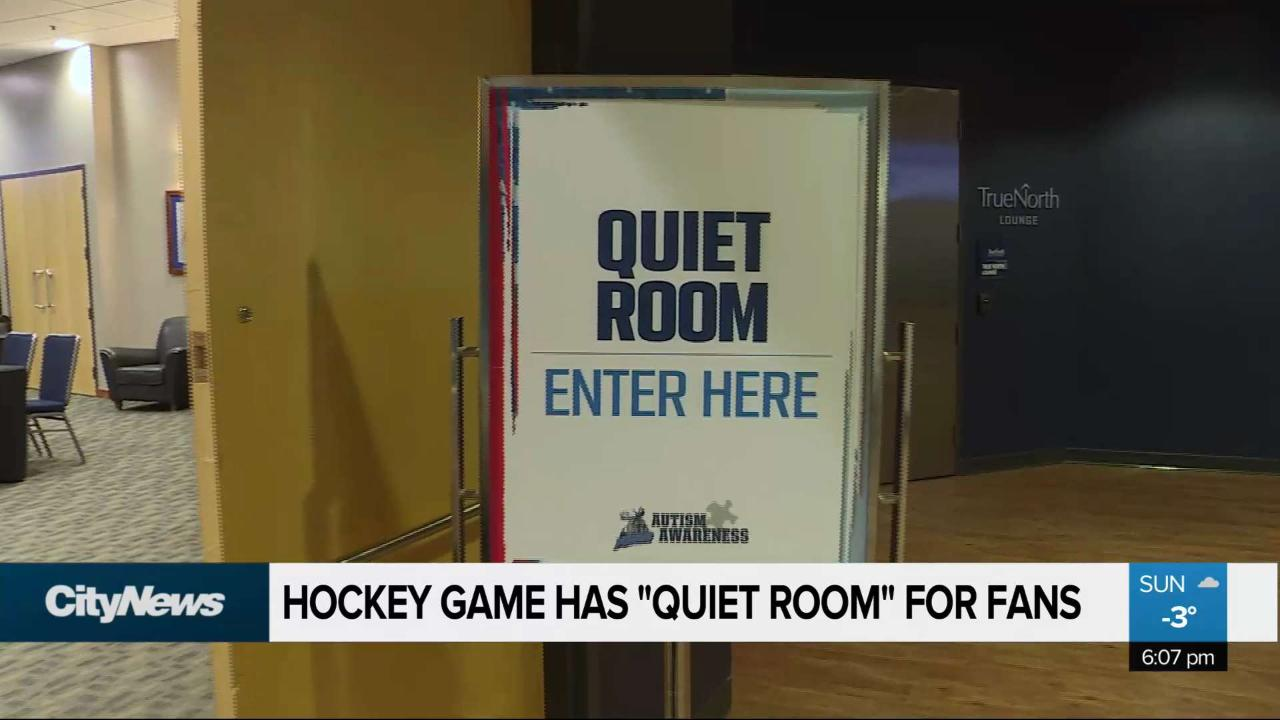 Hockey game has 'quiet room' for kids with autism