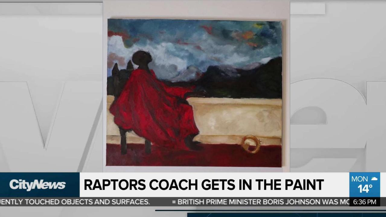 Raptors coach gets in the paint